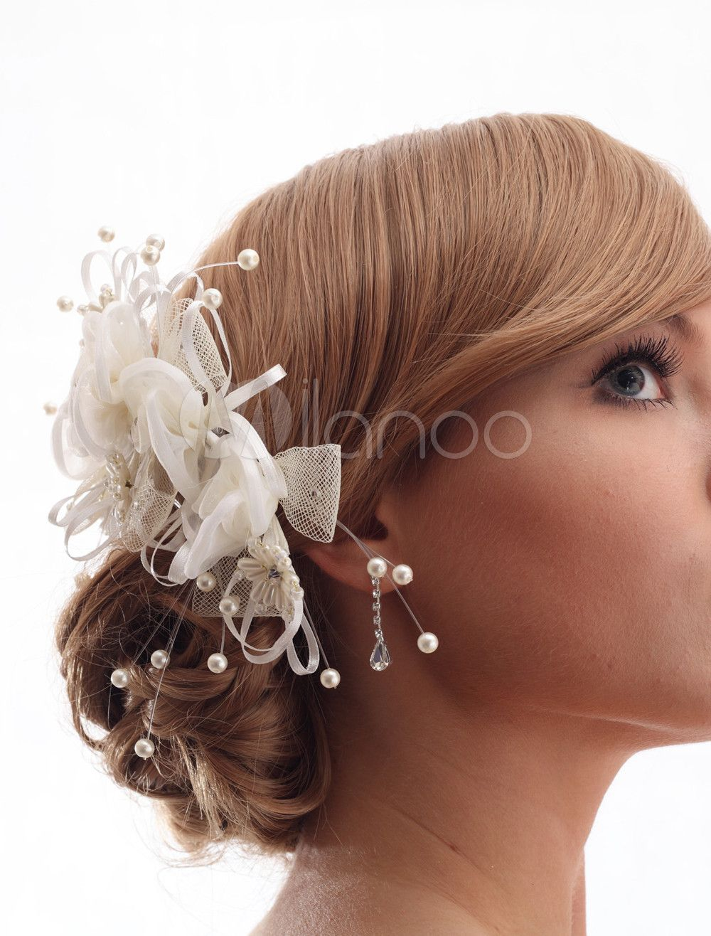 Beautiful Ivory Rhinestone Pearls Tulle Bridal Wedding Headdress