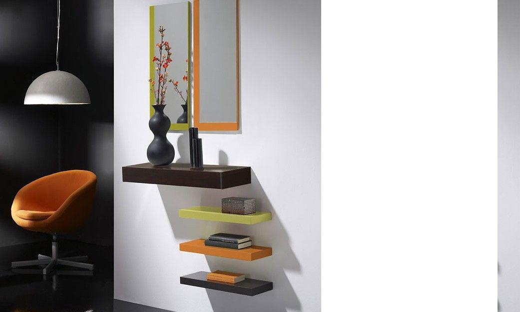 Meuble D Entree Avec Miroir Et Tiroir Goya Coloris Wenge Anis Orange Et Gris Meuble Entree Wenge Decoration Maison