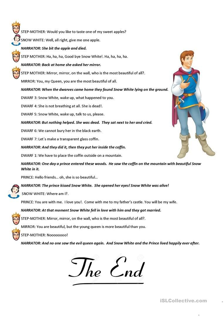 Snow White Short Play English ESL Worksheets in 2020