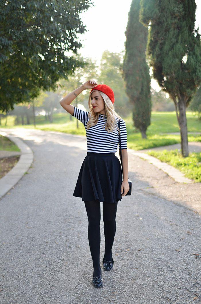 c8b8827c red #beret #boina #roja #inspiration #stripes #striped #top #skater ...