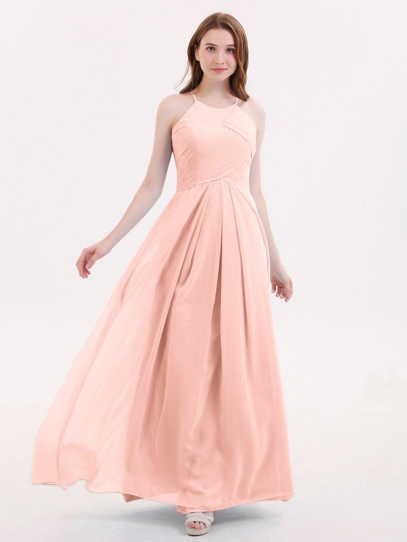 2bb2e6ac1519d Coral Heloise Long Chiffon Halter Bridesmaid Dresses | BABARONI ...