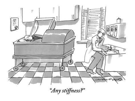 """Premium Giclee Print: """"Any stiffness?"""" - New Yorker Cartoon by Michael Crawford : Review Of Systems, He Is Alive, Caption Contest, New Yorker Cartoons, The New Yorker, The Funny, Giclee Print, Jokes, Death"""