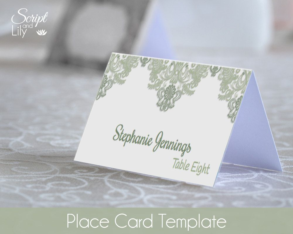 Sage Green Place Name Cards Template | EASY to Edit | Print At Home ...