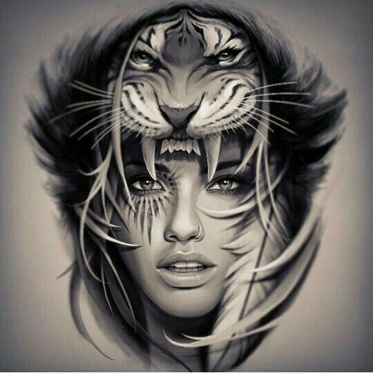 woman and tiger tattoo design tattoo designs pinterest tiger tattoo design tiger tattoo. Black Bedroom Furniture Sets. Home Design Ideas