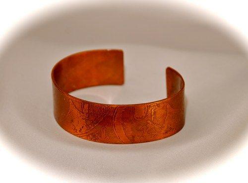 Etched Copper Cuff - 3/4 Wide | Tammy - Jewelry on ArtFire