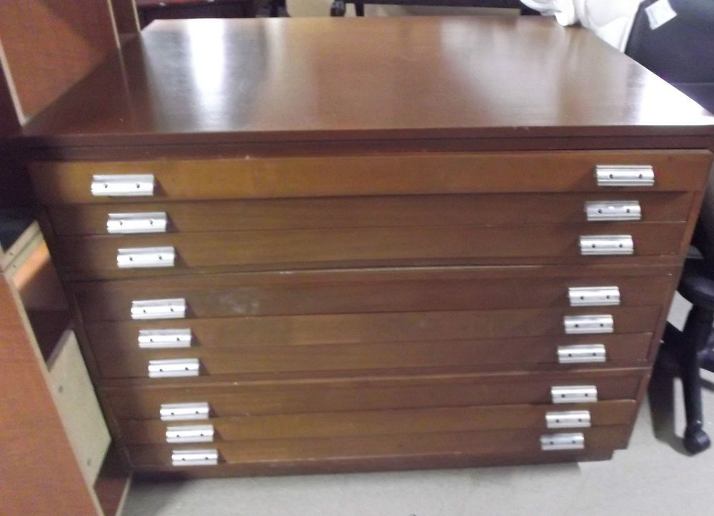 Vintage MAP/DRAWING CHEST Architect Dark Wood File Storage With 9 Drawers    E31