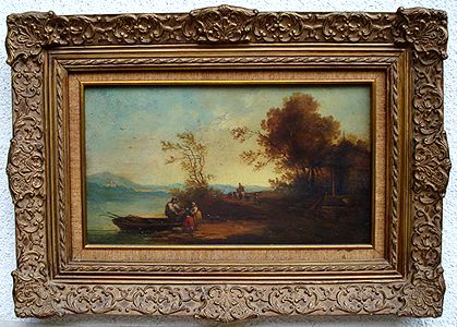 """""""Paisaje"""" Escuela Holandesa.Siglo XVIII. Óleo/ tabla. Med:45 x 26 cms."""