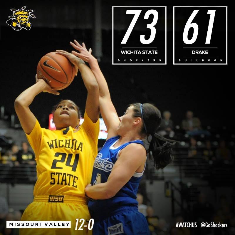 Watchus Win Shockers 73 Drake 61 Wichita State Women S Basketball Still Undefeated In The Missouri Valley C Missouri Valley Wichita State Womens Basketball