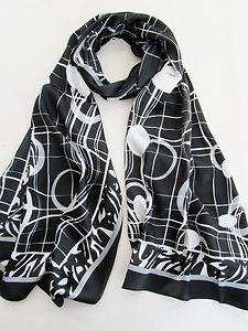 Ladies Silk Satin Shawl, Neck Head Scarf 301057, Black, Patterned, FREE P | eBay