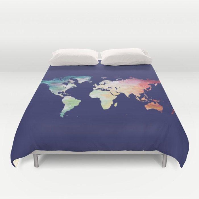 World map duvet cover navy duvet full queen king duvet painted world map duvet cover navy duvet full queen king duvet painted map bedding gumiabroncs Gallery