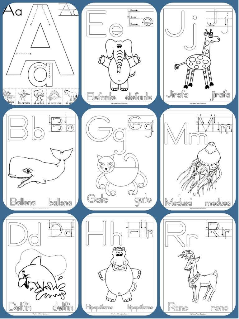 Completo Abecedario Con 90 Fichas Para Colorear Aprender Y