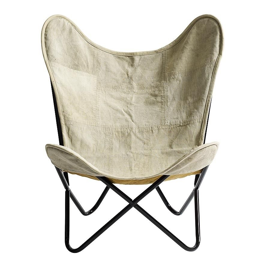 Butterfly metal chair - This Fantastically Stylish Butterfly Chair From Nordal Features A Metal Frame With A Luxurious Natural Canvas