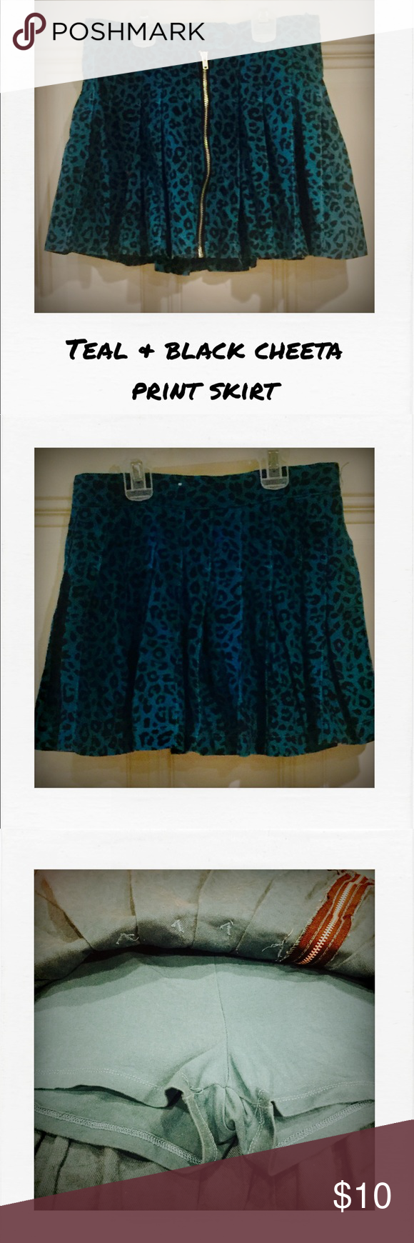 NWT TEAL & BLACK CHEETA PRINT SKIRT!!! Never worn! Adorable teal & black cheetah print skirt from The Children's Place. Has a zipper on the front . Adjustable elastic on the inside waist line. Size 10 The Children's Place Bottoms Skirts