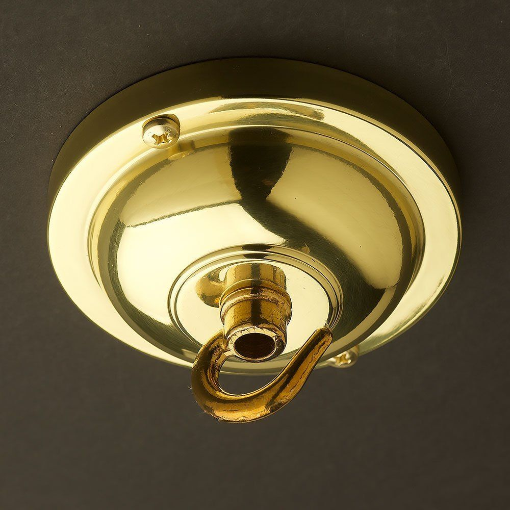Polished Brass Chain Hook Ceiling Rose 90mm Ceiling Rose Polished Brass Brass Chain