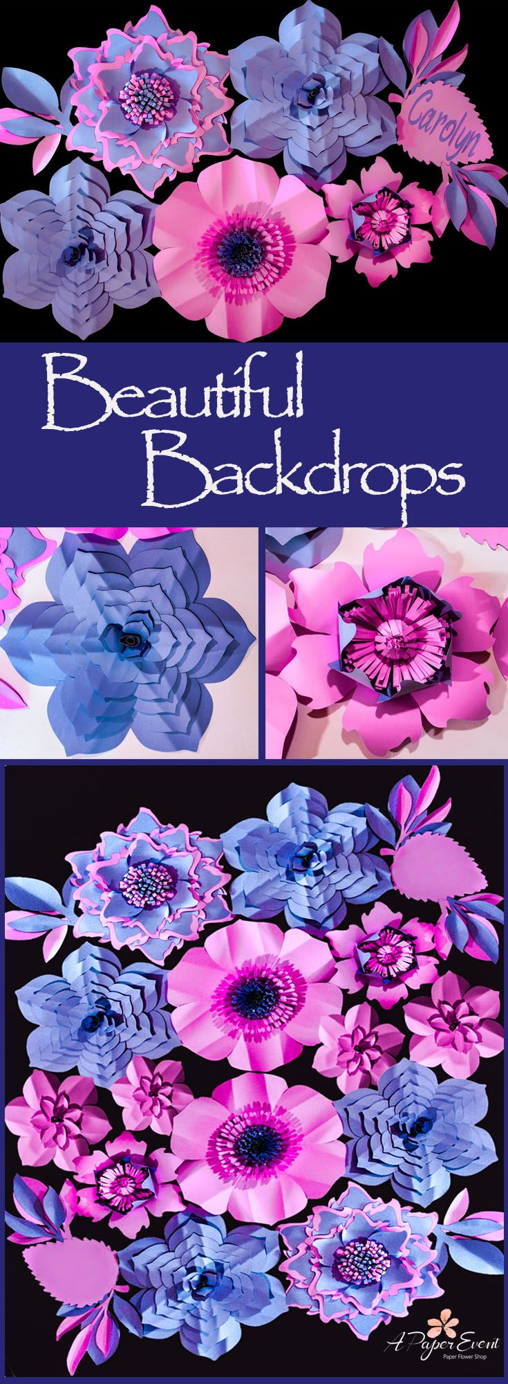 Beautiful paper flower backdrops Unique decor for birthdays baby