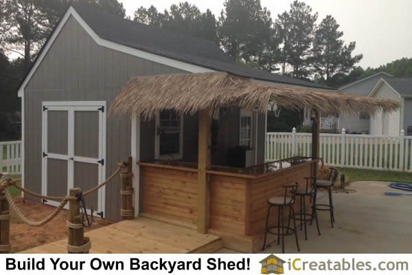 10x16 pool house cabana plans with bar and sun deck for Pool house shed plans