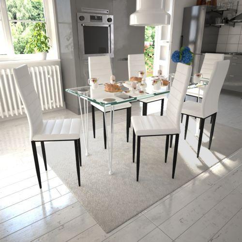 essgruppe 6 esszimmerstühle + glastisch kunstleder stühle tisch, Esszimmer