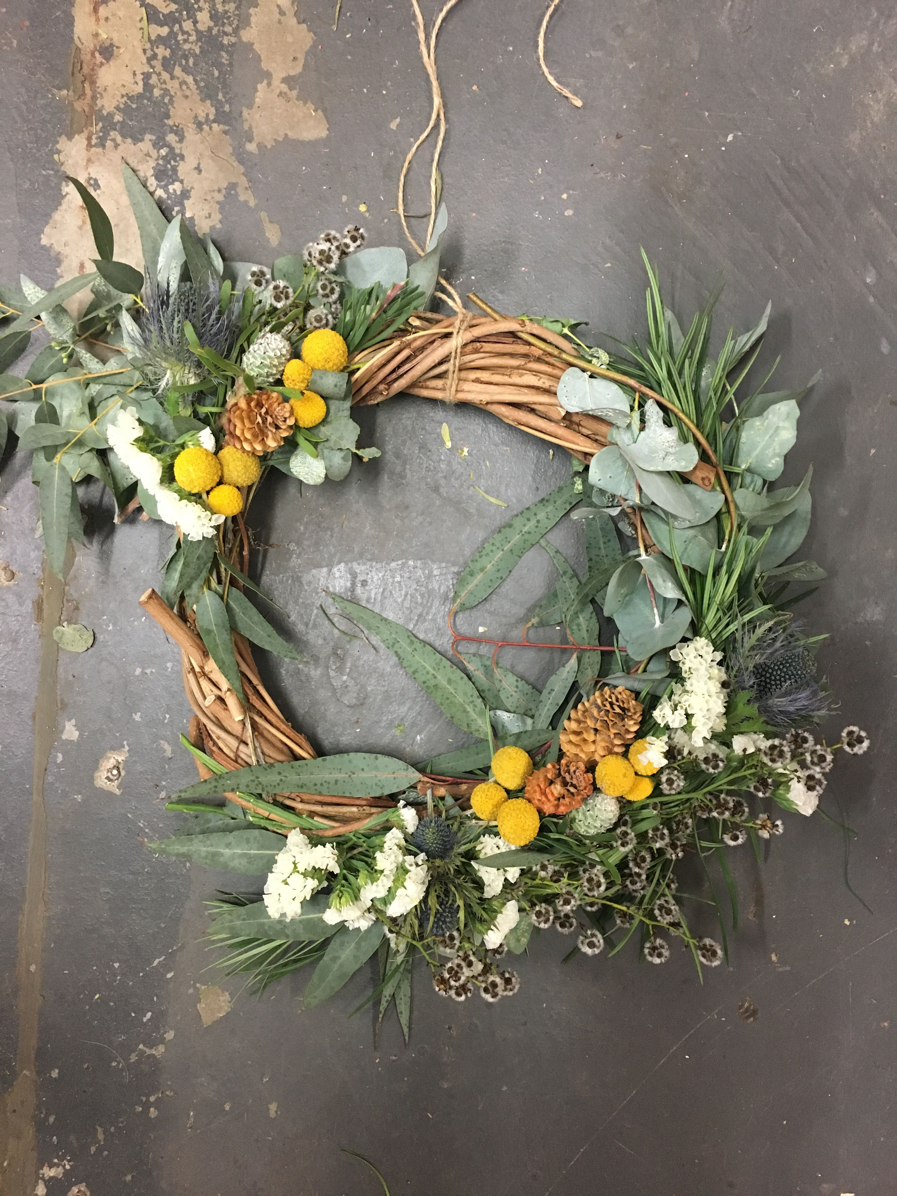 Handmade Christmas wreath with Australian natives