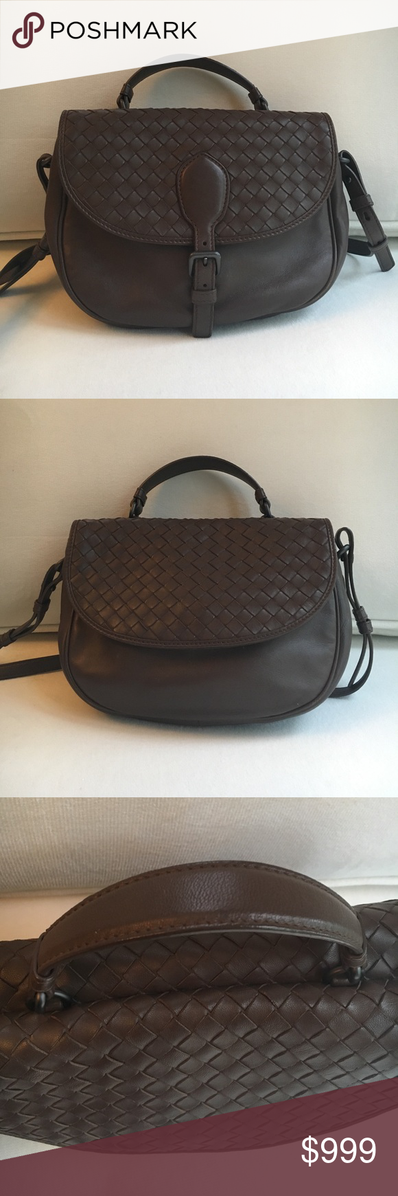 Bottega Veneta Crossbody Bag In mint- new condition, this genuine soft leather Bottega Veneta bag is a classic and a timeless piece. It features flaps of different design on both faces of the bag, one with a snap magnet button and another with a adjustable strap on belt enclosure. It is so chic and in such amazing quality! Bottega Veneta Bags Crossbody Bags