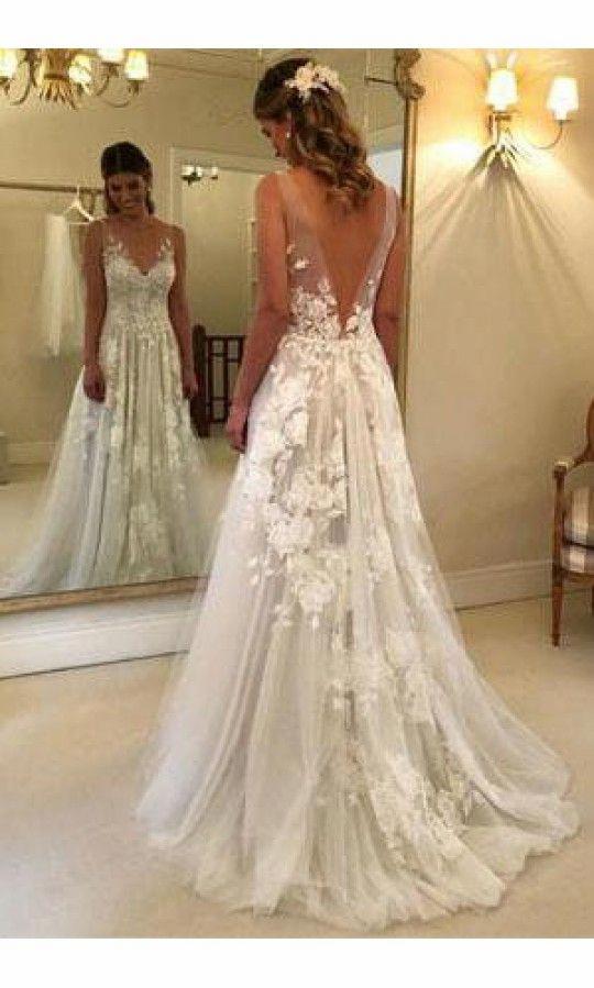 Spitze A-Line Hochzeitskleid in 2020 | Kleider hochzeit ...