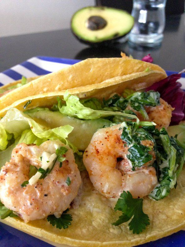 Shrimp Tacos with Cilantro Lime Sauce!  Easy 30 minute meal !