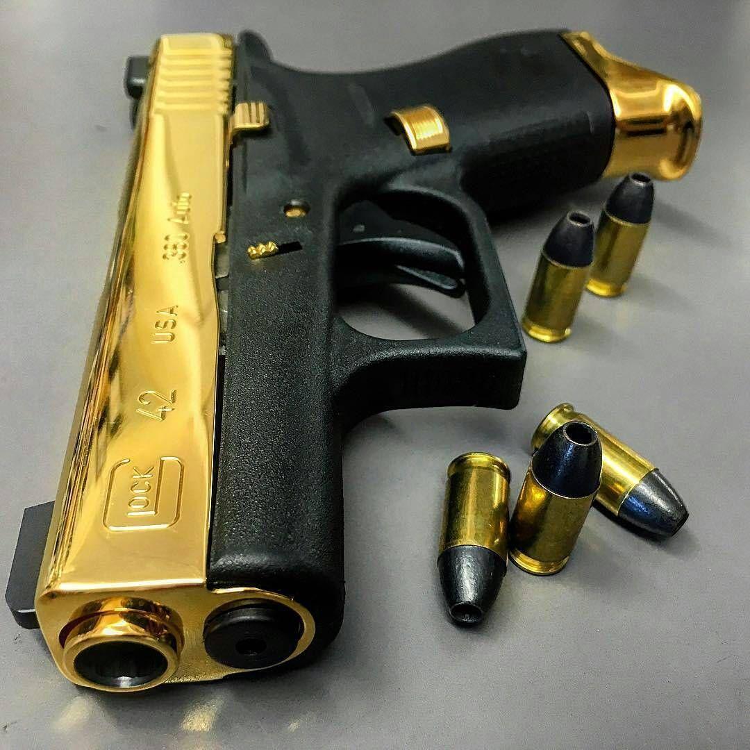 High polished gold plated Glock 42  380  #glock #gold #polish #380