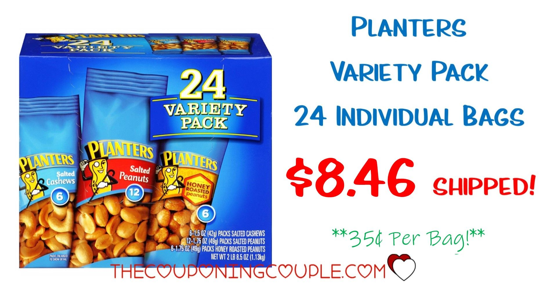 Planters Nut 24 Count Variety Pack - $8.46 Shipped! *$0.35 per Pack on planters peanuts variety, planters peanuts individually wrapped, planters nutrition pack, blue diamond nuts pack, planters honey roasted peanuts, peanut planter pack, planters heat peanuts,