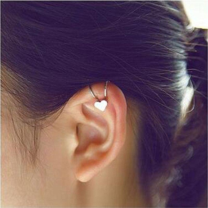 ES678 패션 유니콘 Brincos 뉴스 여자 이어링 비쥬 Aros 심장 클립 귀 커프 귀걸이 보석 Earings 한 방향