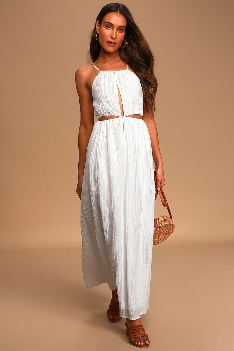 Streamlined Style White Tie Back Cutout Maxi Dress Cutout Maxi Dress Maxi Dress Cute White Dress [ 1125 x 750 Pixel ]