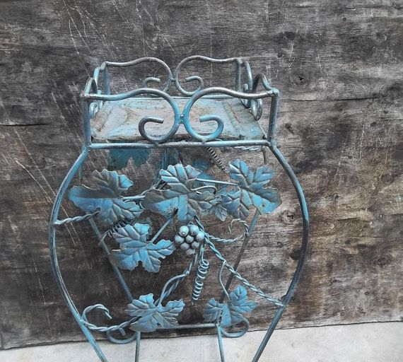 Wrought Iron Accent Table. Side Table. Duck Egg Blue. French Shabby Chic Cottage Decor on Etsy, $38.00