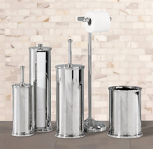 Newbury Bowl Brush, Tissue Canister, Plunger, Standing Tissue Holder And  Wastebasket From Restoration Hardware