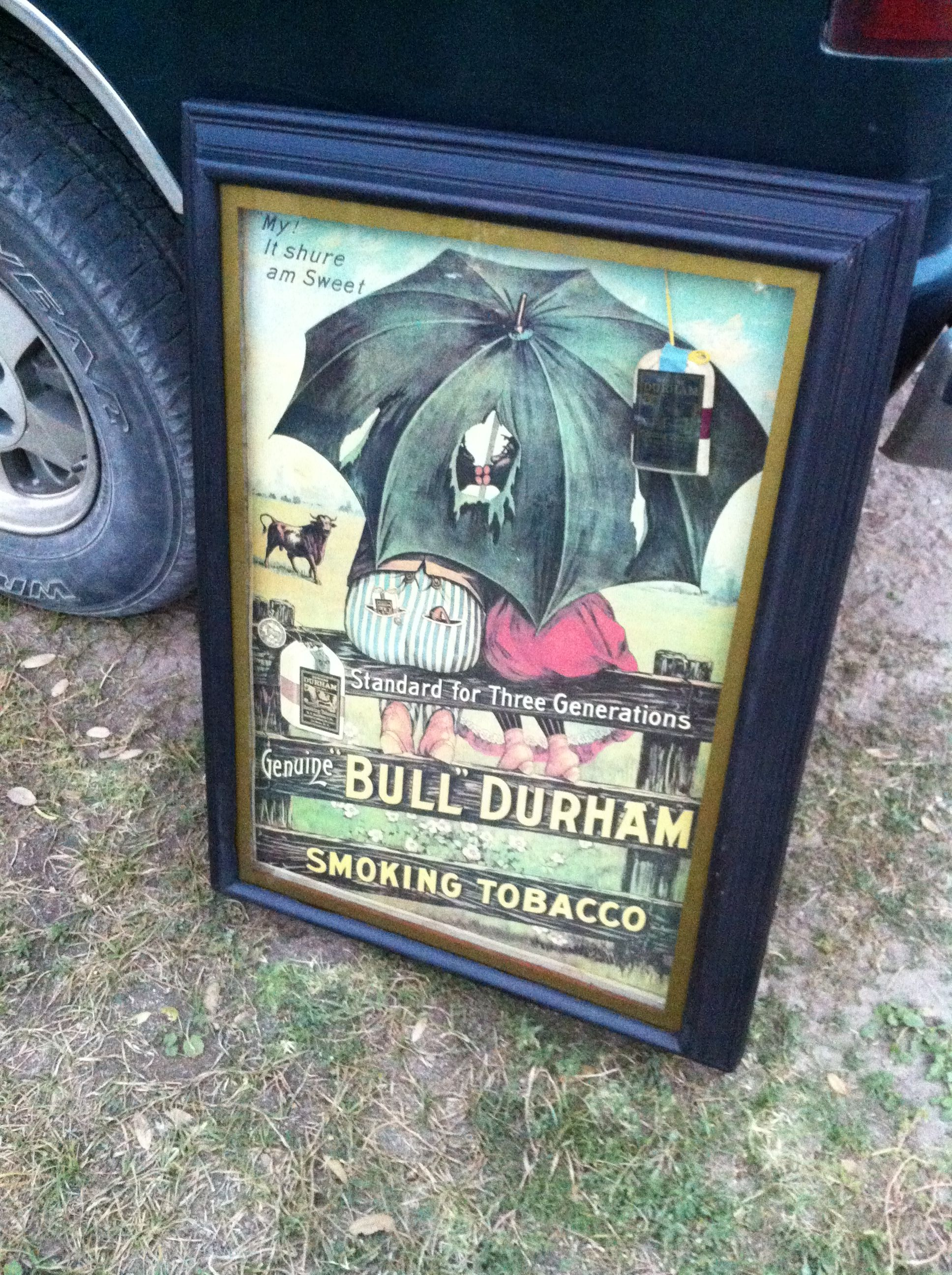 Vintage Bull Durham advert shadow boxed with original pouch of Bull Durham inserted.