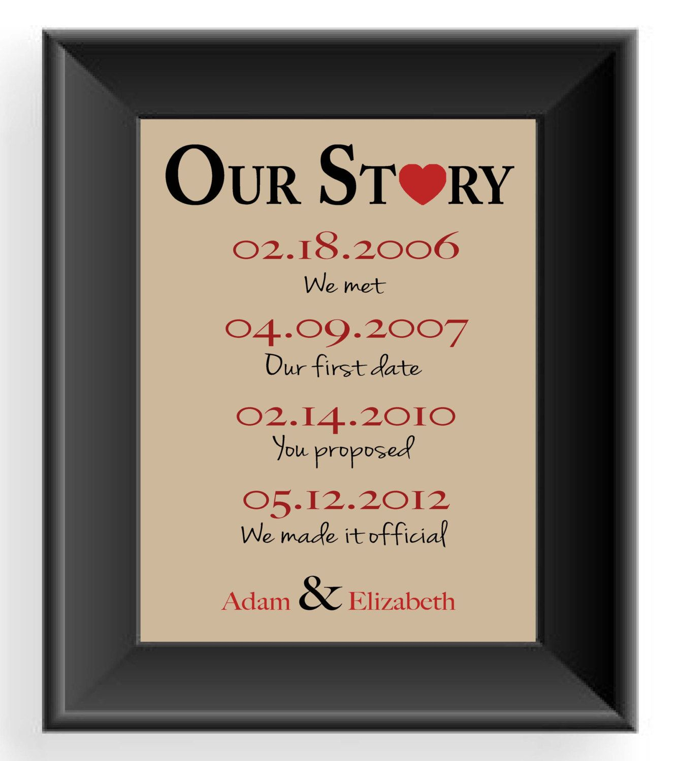 Valentineu0027s Day Gift  Important Dates  Wedding Gift For Couple  First  Anniversary  Personalized