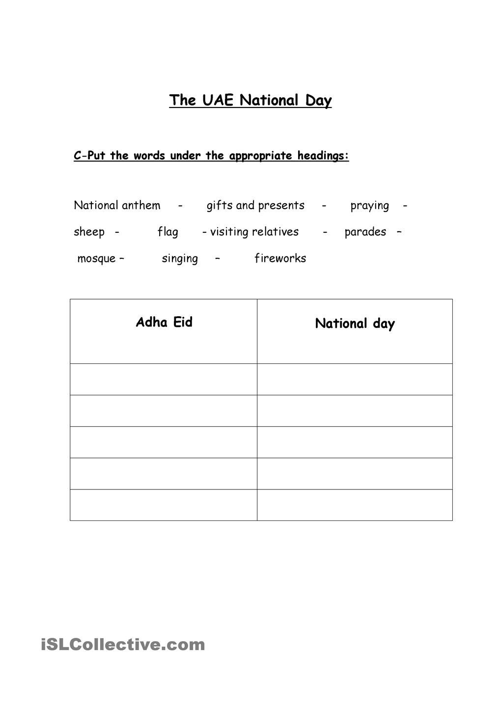 small resolution of UAE National Day   Social studies worksheets