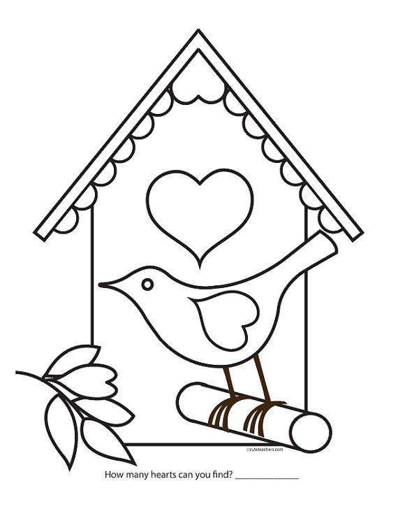 Valentine Bird House Coloring Page Coloring Pages Valentine Coloring Sheets House Colouring Pages
