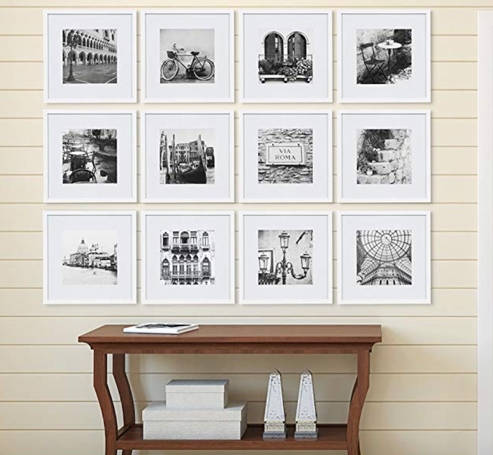 Gallery Perfect 12 Piece White Square Photo Frame Gallery Wall Kit With Decorative Art Prints Perfect Gallery Wall Gallery Wall Kit Gallery Wall Frames