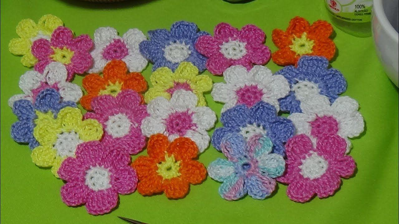 Aprende a tejer mini florcitas a crochet paso a paso | ΠΛΕΞΙΜΟ ΜΕ ...
