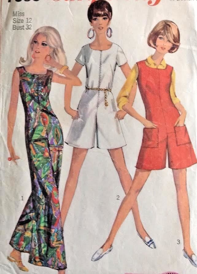 Vtg 1960s Simplicity 7000 Sew Pattern Romper Jumpsuit Jumper Zip ...