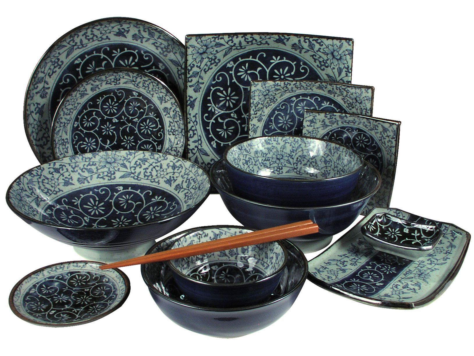 Enjoy the sleek lines u0026 contemporary patterns of Japanese tableware sets. A Japanese tableware set is a distinctive addition to your dinnerware.  sc 1 st  Pinterest & Rustic Dark Green Blue and Cream Karakusa | Dishes | Pinterest ...