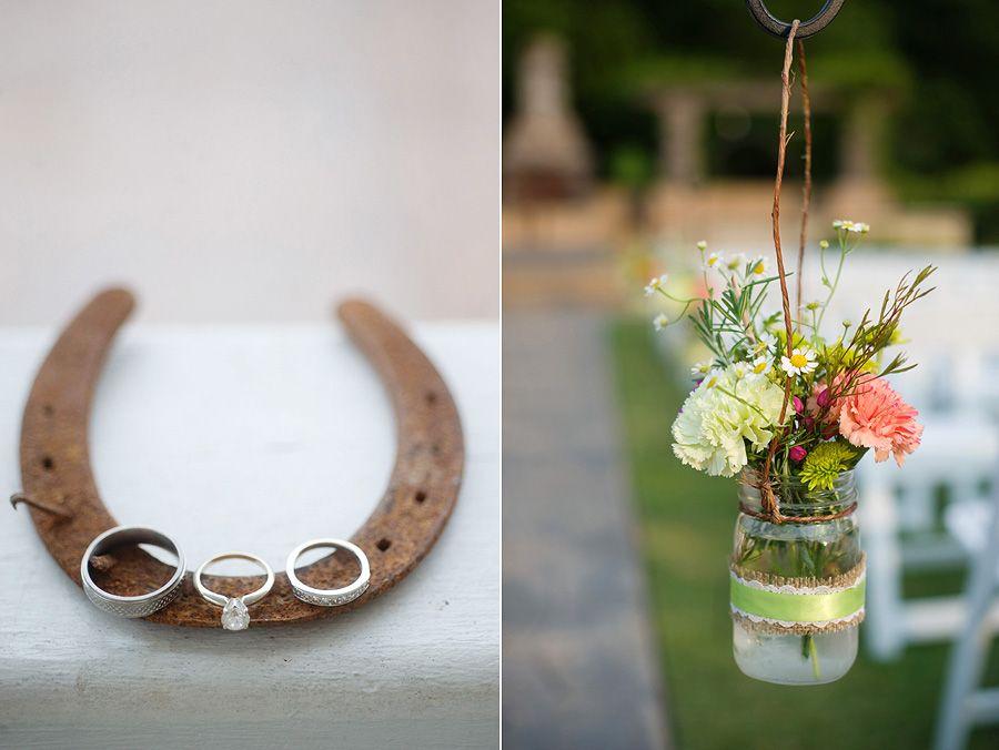 Wedding Ceremony Outdoor Aisle Decor And Rings On Horseshoe Southern Wedding Photography Outdoor Wedding Ceremony Southern Wedding