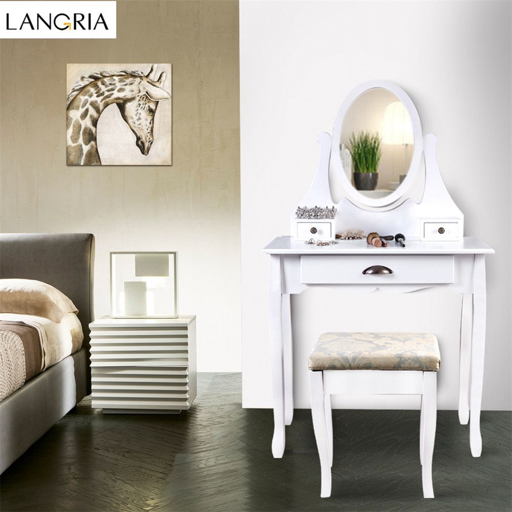 Salon-spiegel-designs langria verfassungs schminktisch eitelkeit und stuhl set mit
