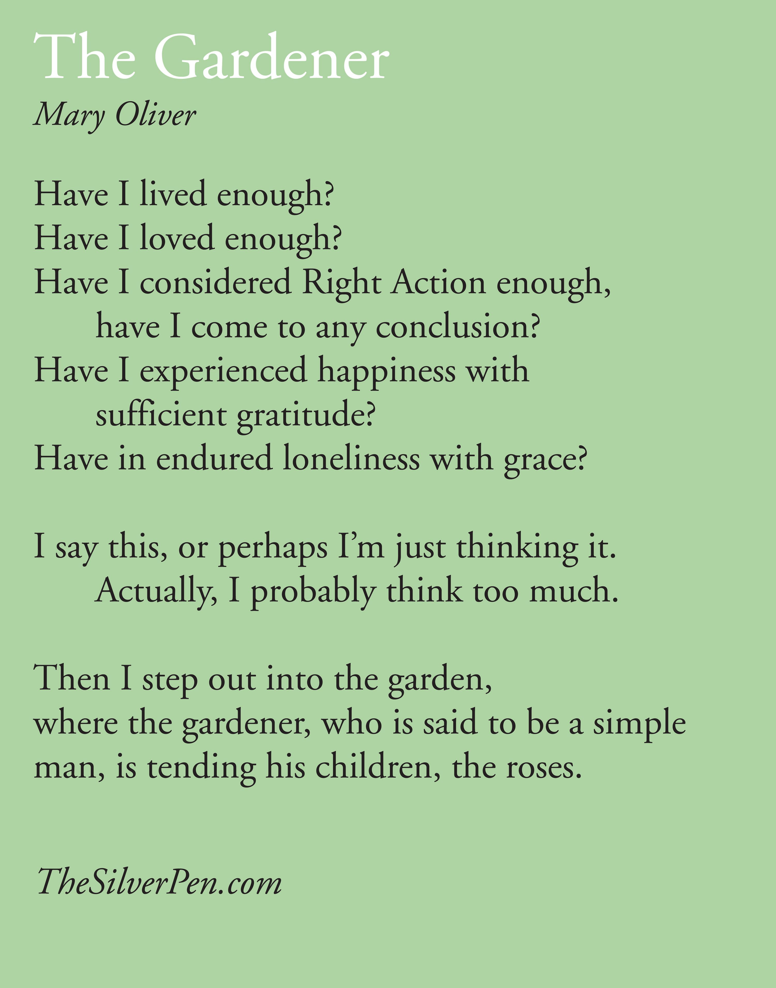 mary olivers poem singapore essay Mary oliver 1935- american poet the following entry provides an overview of oliver's career through 1995 see also, mary oliver criticism an award-winning poet, oliver is known for verses that.