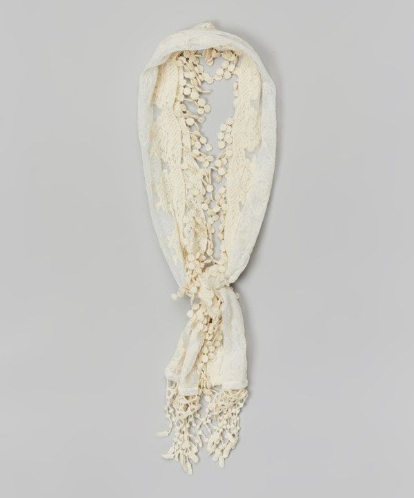 Look at this Ivory Lace Scarf on #zulily today!