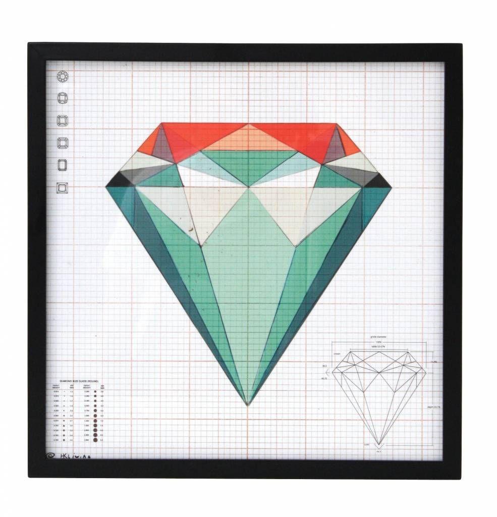 HK-living Poster met lijst 'Diamond' 36x36cm