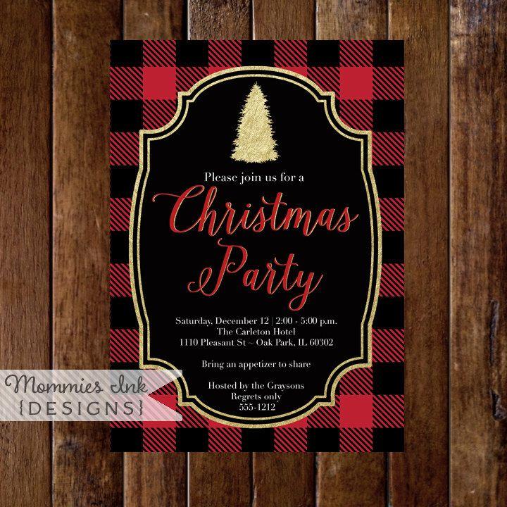 Buffalo Plaid Christmas Party Invitation, Buffalo Check Christmas ...
