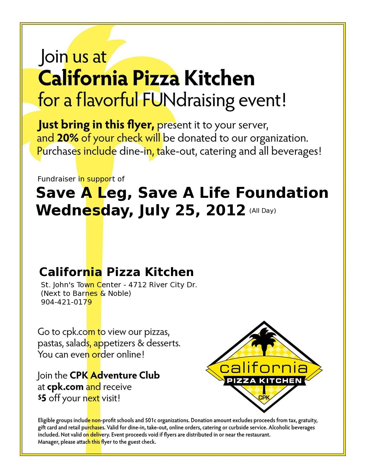 California Pizza Kitchen Fundraising Event | Camp Jamison ...