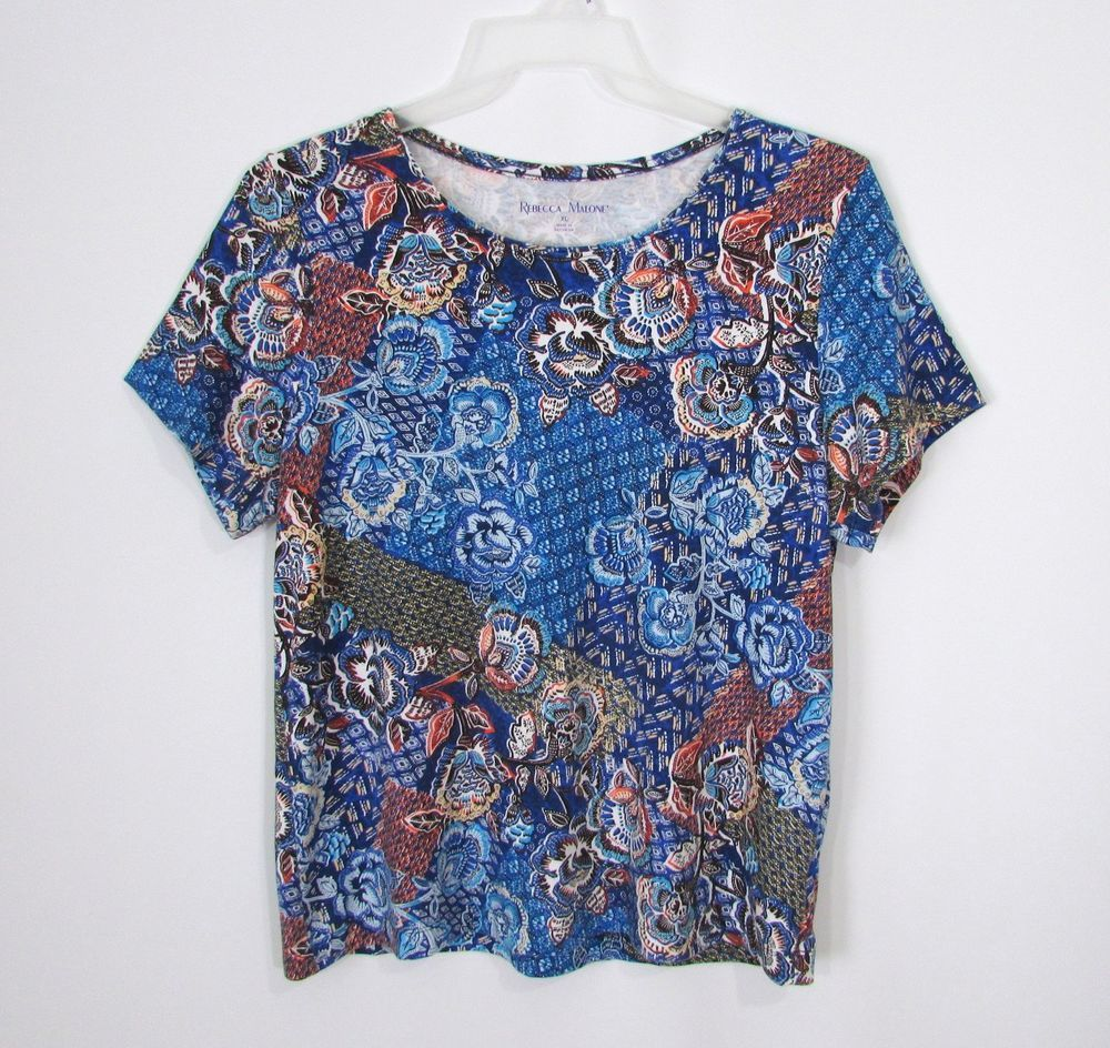 ab82d38a160 Womens REBECCA MALONE Blue Black White Floral Short Sleeve Knit Top Size XL   RebeccaMalone  Blouse  Casual