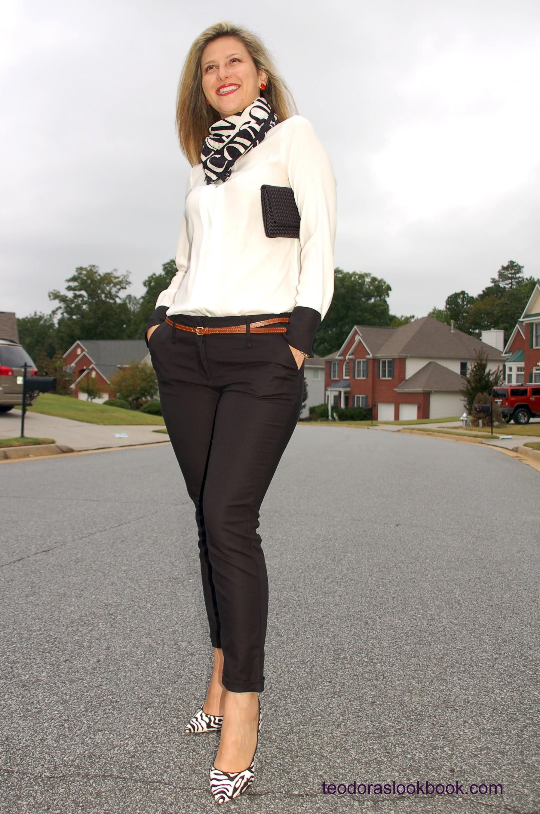 Black & white fashion, cropped/capri pants, animal print shoes ...