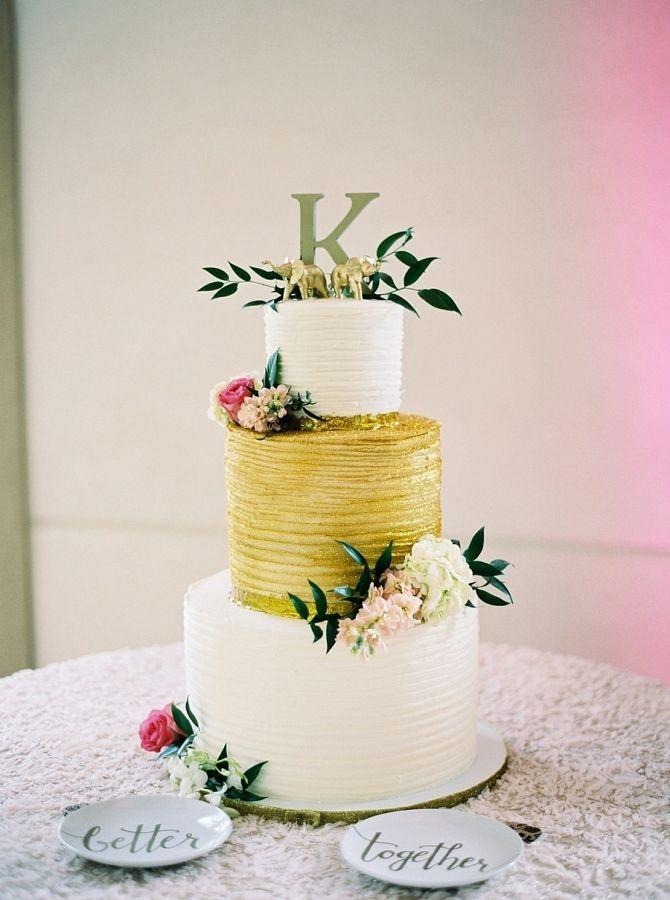 Wedding Cakes : Glam gold and white wedding cake: www.stylemepretty ...