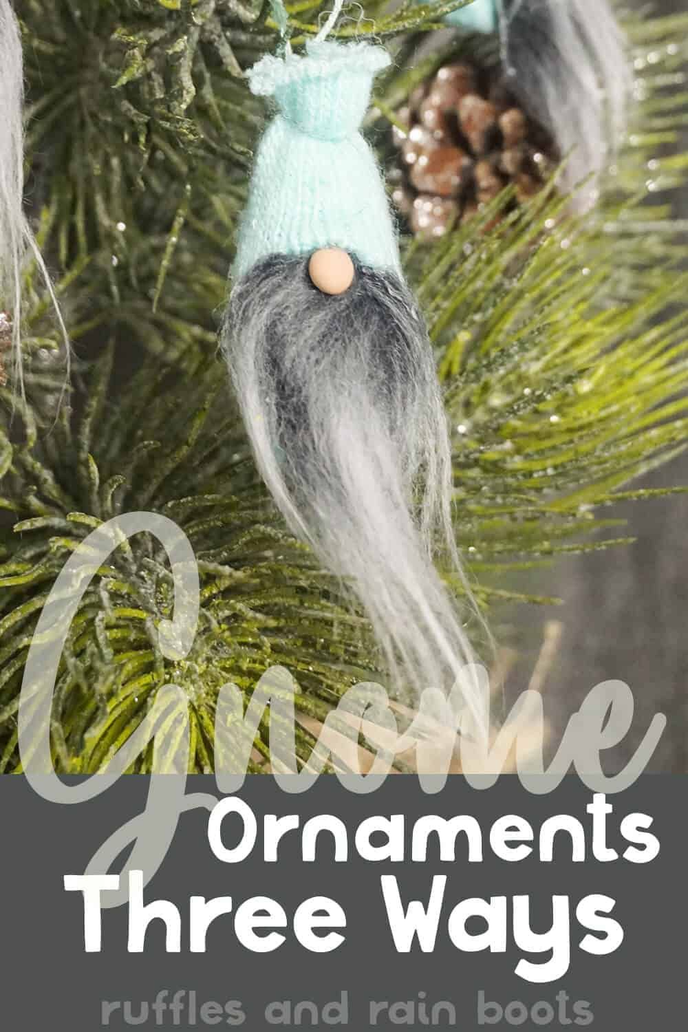 Mini Gnome Ornaments From Glove Fingers 3 Ways Easy Christmas Ornaments Gnome Ornaments Gnomes Crafts
